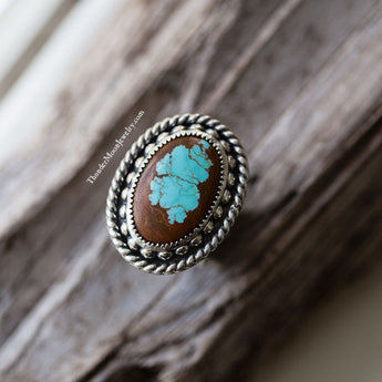 #8 Mine Turquoise - Sterling Silver Ring - Size 6.75-7