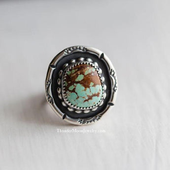 #8 Mine Turquoise - Sterling Silver Ring - Size 7