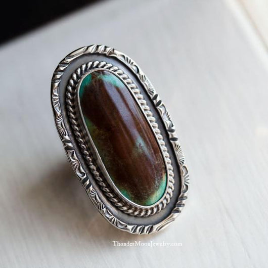Turquoise Mountain - Sterling Silver Ring - Size 8