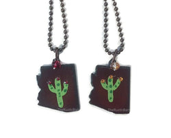 Arizona  metal Charm Cactus painted with swarovski crystals