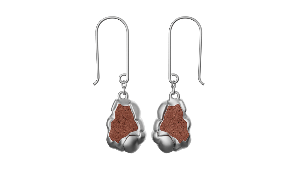 Silver Rock Drop Earrings