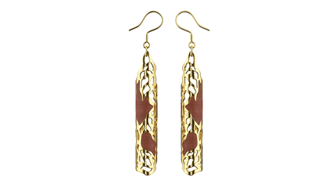 Yellow Gold Jaali Earrings
