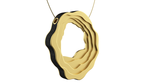 Yellow Gold Oval Contoured Pendant