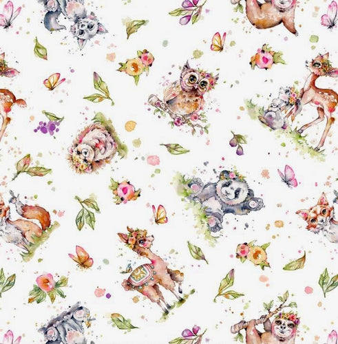 Little Darlings Woodland - All Over Animals on White