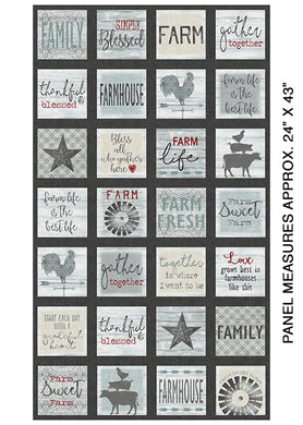 Farm Sweet Farm Panel - Squares Charcoal/Multi (on sale)