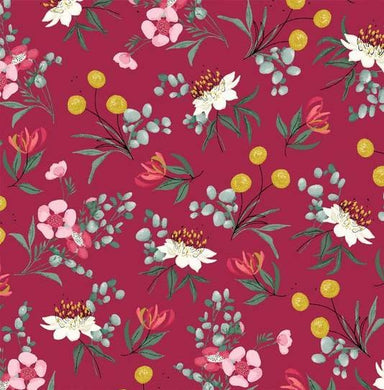 Aussie Friends - Floral - Burgundy