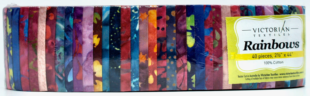 Rainbow Jelly Roll - Bright Batiks