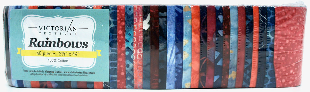 Rainbow Jelly Roll - Red & Navy