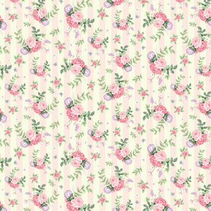 Little Wren Cottage - Floral Stripe - Pink