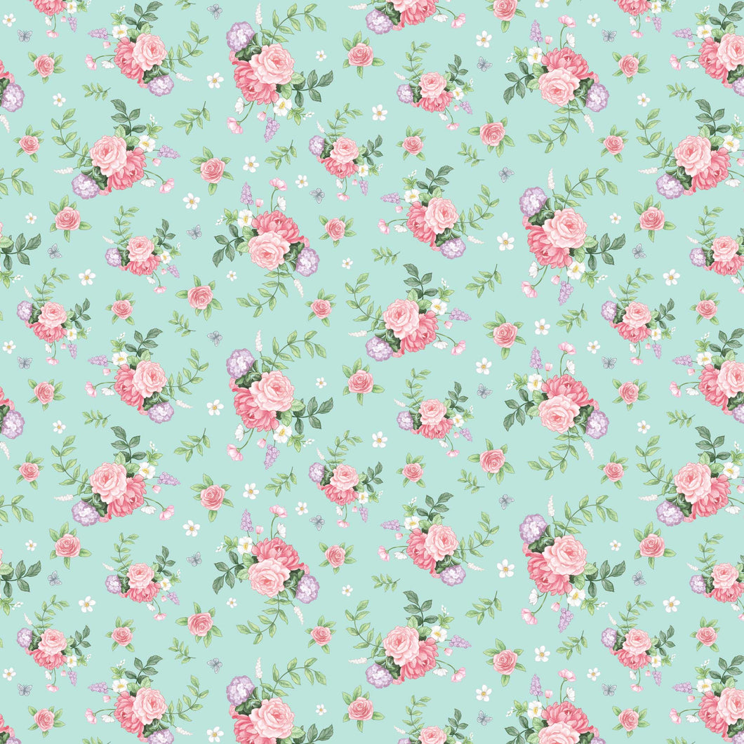 Little Wren Cottage - Floral - Mint Green
