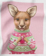 Load image into Gallery viewer, Aussie Friends Festive Fun - 3 Block Panel Kangaroo
