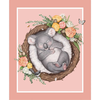 Native Nursery Panel - Koala in Apricot/Pink