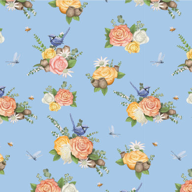 Native Nursery Allover in Floral Blue