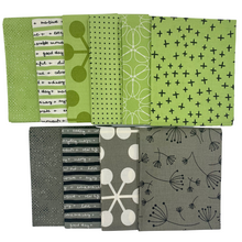 Load image into Gallery viewer, Quotation - Fat Quarter Bundle - Green & Greys - 10 pieces