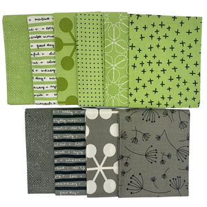 Quotation - Fat Quarter Bundle - Green & Greys - 10 pieces