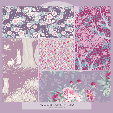 Woodland - Fat Quarter Bundle - Plums - 5 pieces