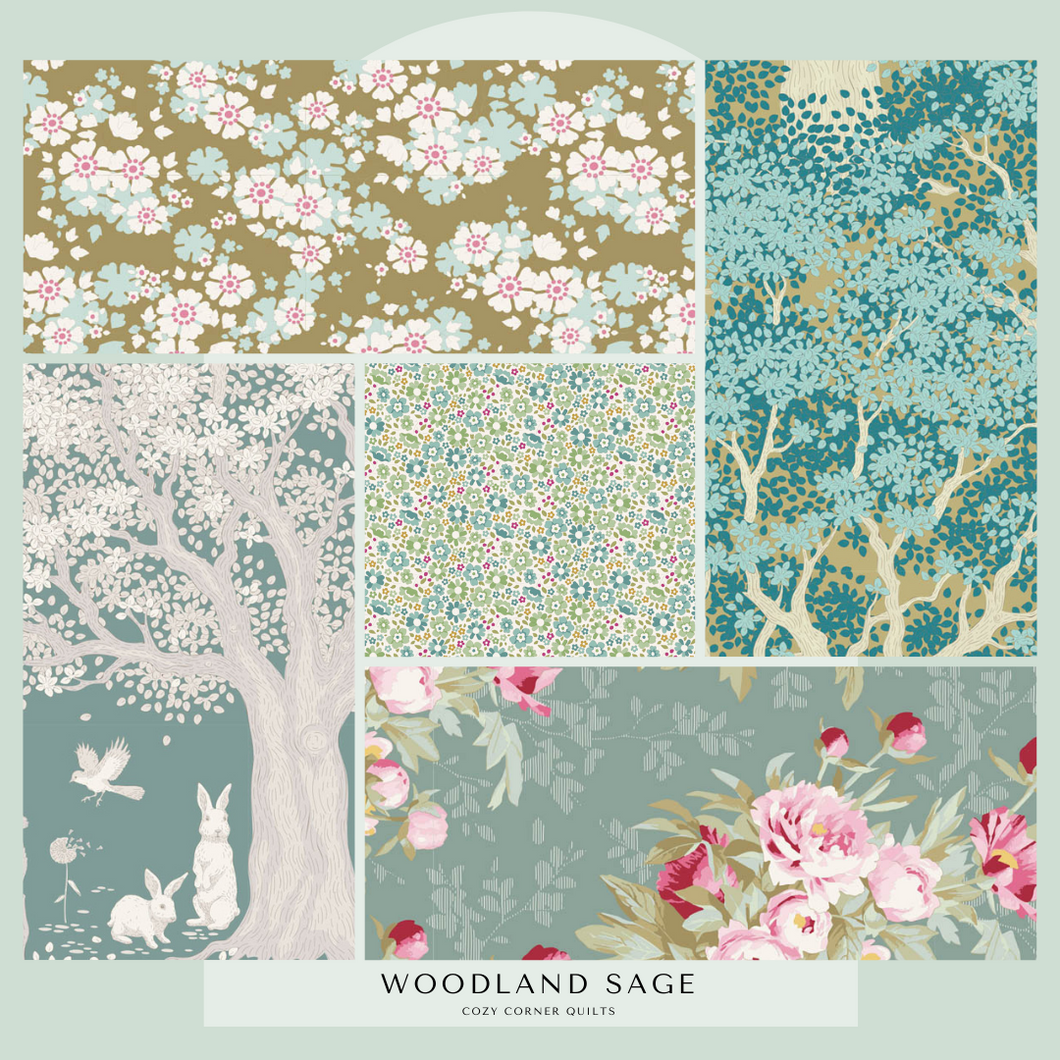 Woodland - Fat Quarter Bundle - Sage - 5 pieces