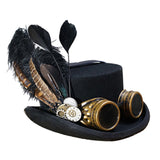 Steampunk Hat with Goggles & Decorative Feather