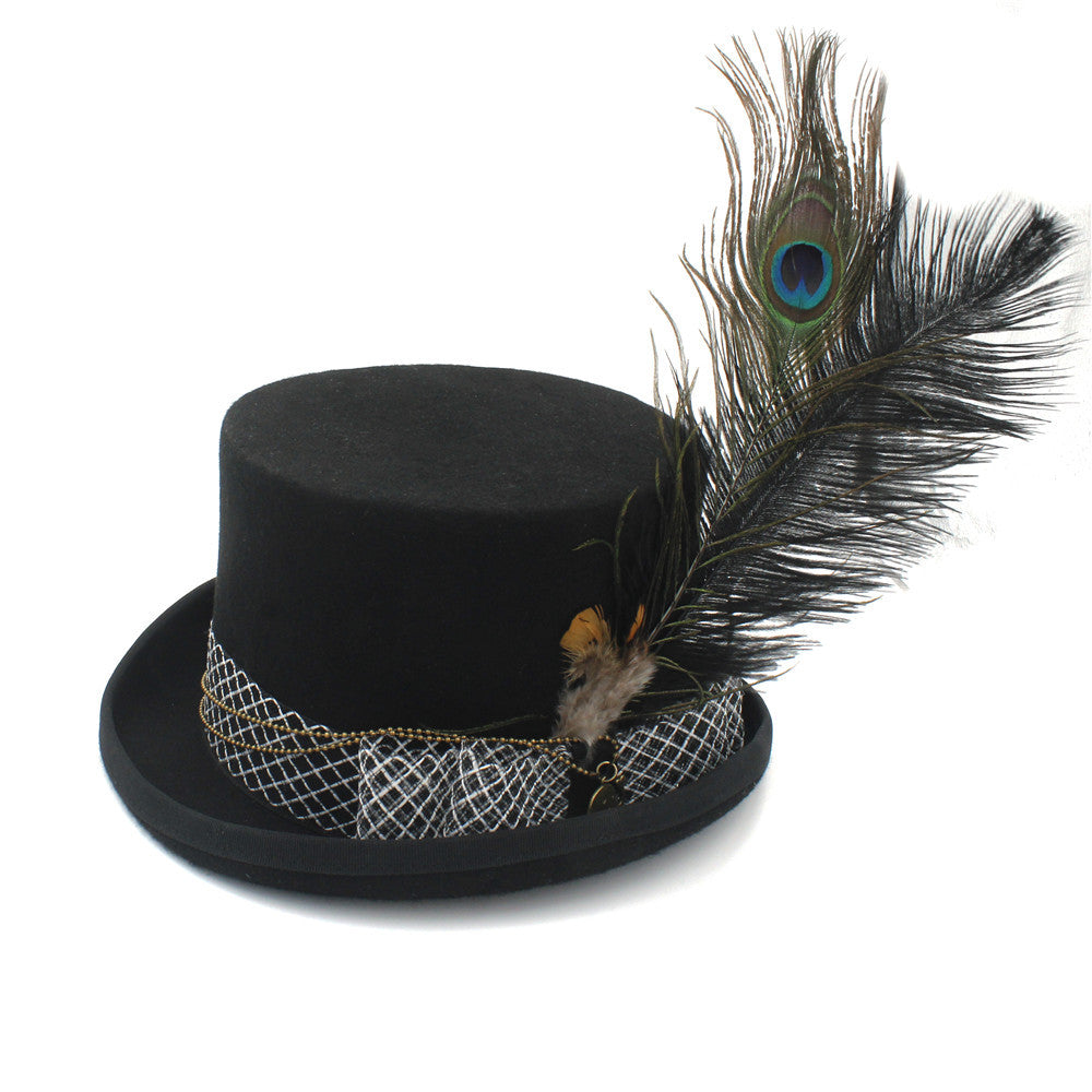 Steampunk Black Hat Fedora With a Feather