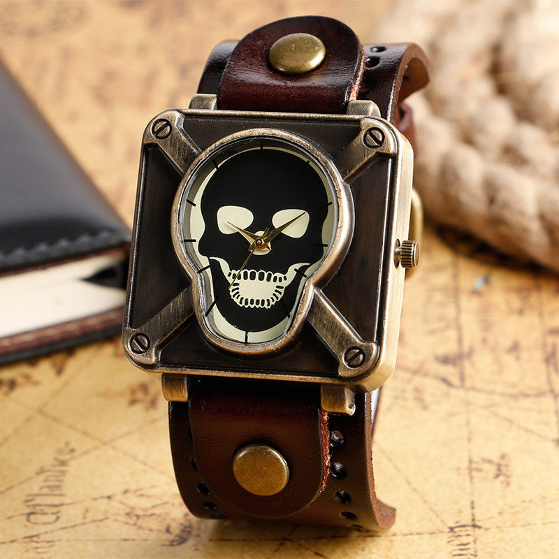 Steampunk Cool Design Wristwatch with Leather Band