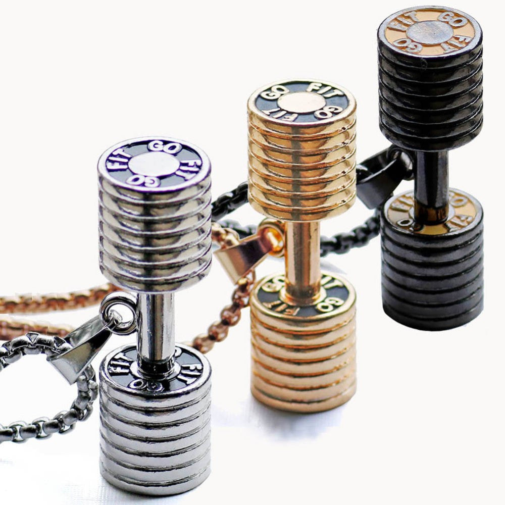 Steampunk Dumbbell Necklace for Men