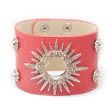 Steampunk Rhinestone Leather Wide Bracelet