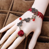 Steampunk Red Rose Bracelet and Ring
