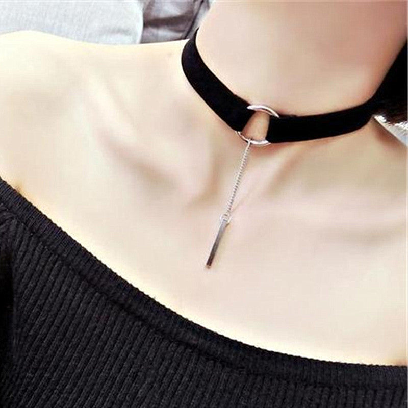 Steampunk Clavicle Choker Necklace Velvet Stripe