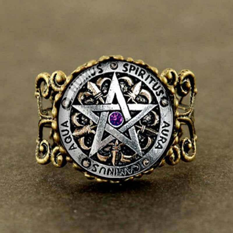 Steampunk Pagan Pentagram Ring