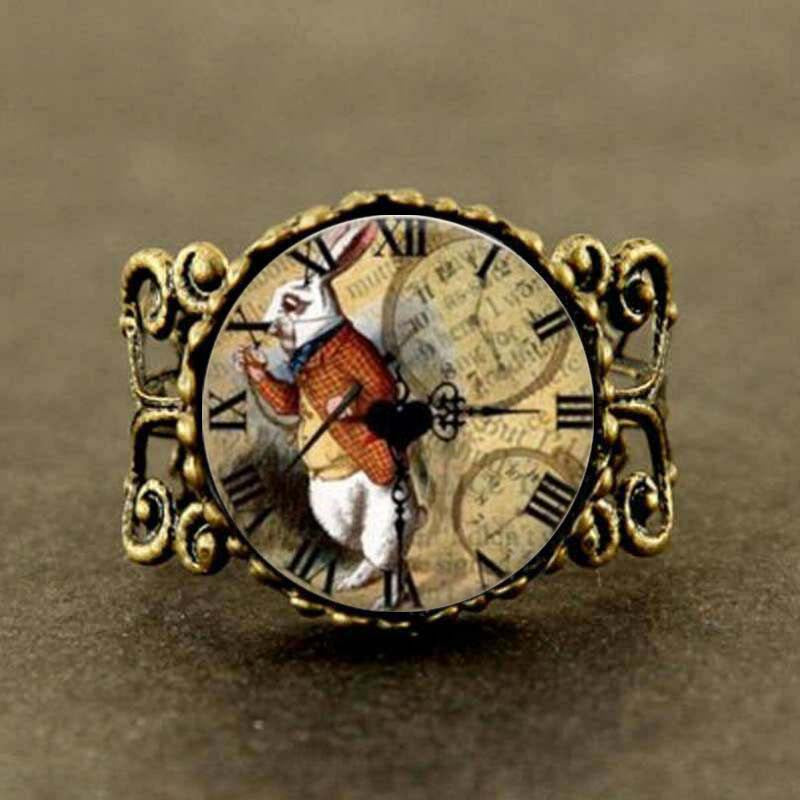 Steampunk Rabbits Locked in Time Ring