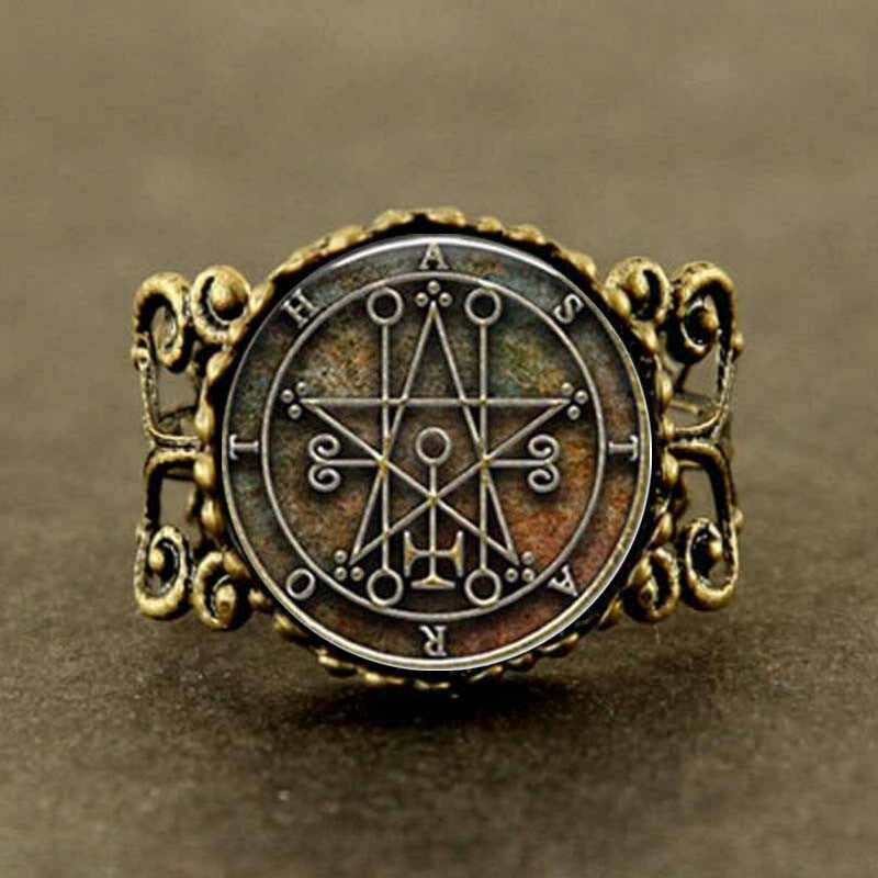 Steampunk Pentagram Satanistic Ring