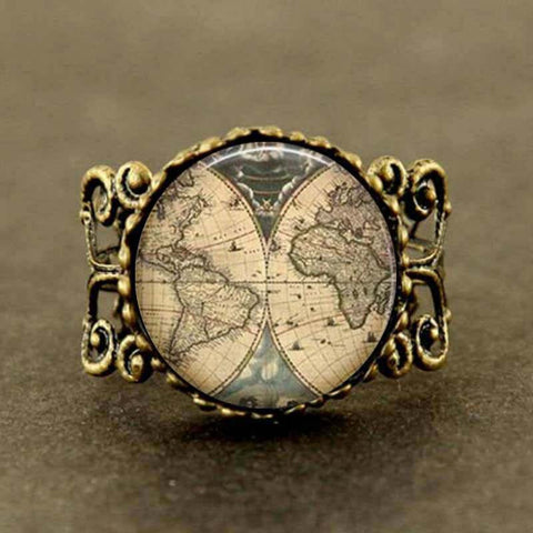 Steampunk Ancient World Map Ring