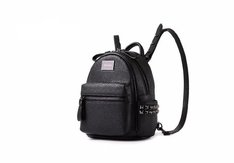 Mini Leather Backpack Rivet Pu
