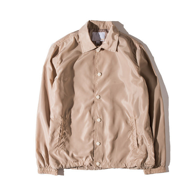 Coaches Jacket Khaki Retro Tailored Fit