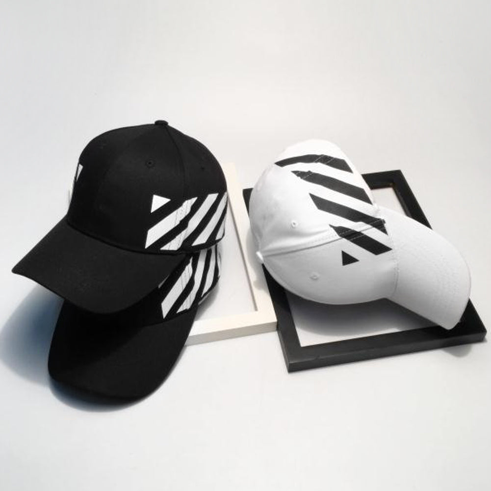 White Black Stripes Dad Hat