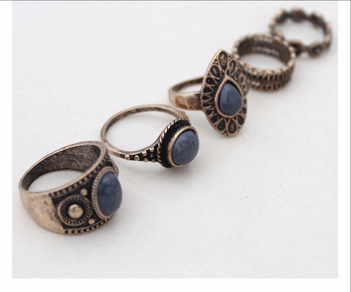 Steampunk Blue Stone 5pcs Midi Finger Ring
