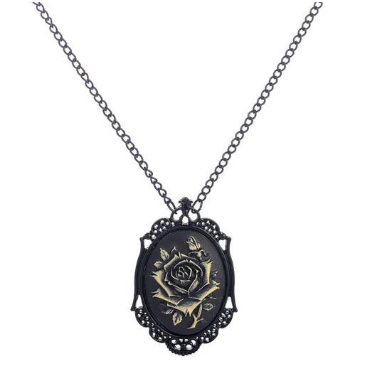Steampunk Necklace Black Rose Women's
