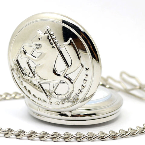 Steampunk Pocket Watch Silver Cat