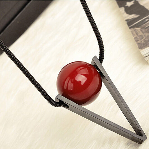 Steampunk Necklace Red Ball