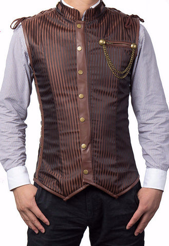 Steampunk Men's Striped Jacket Vest Dickens