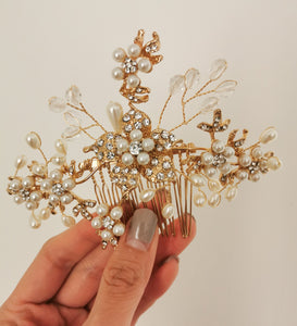 Pearls + Crystals Hair Comb