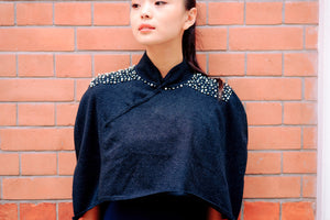 Knitted Qipao Cape with Pearls