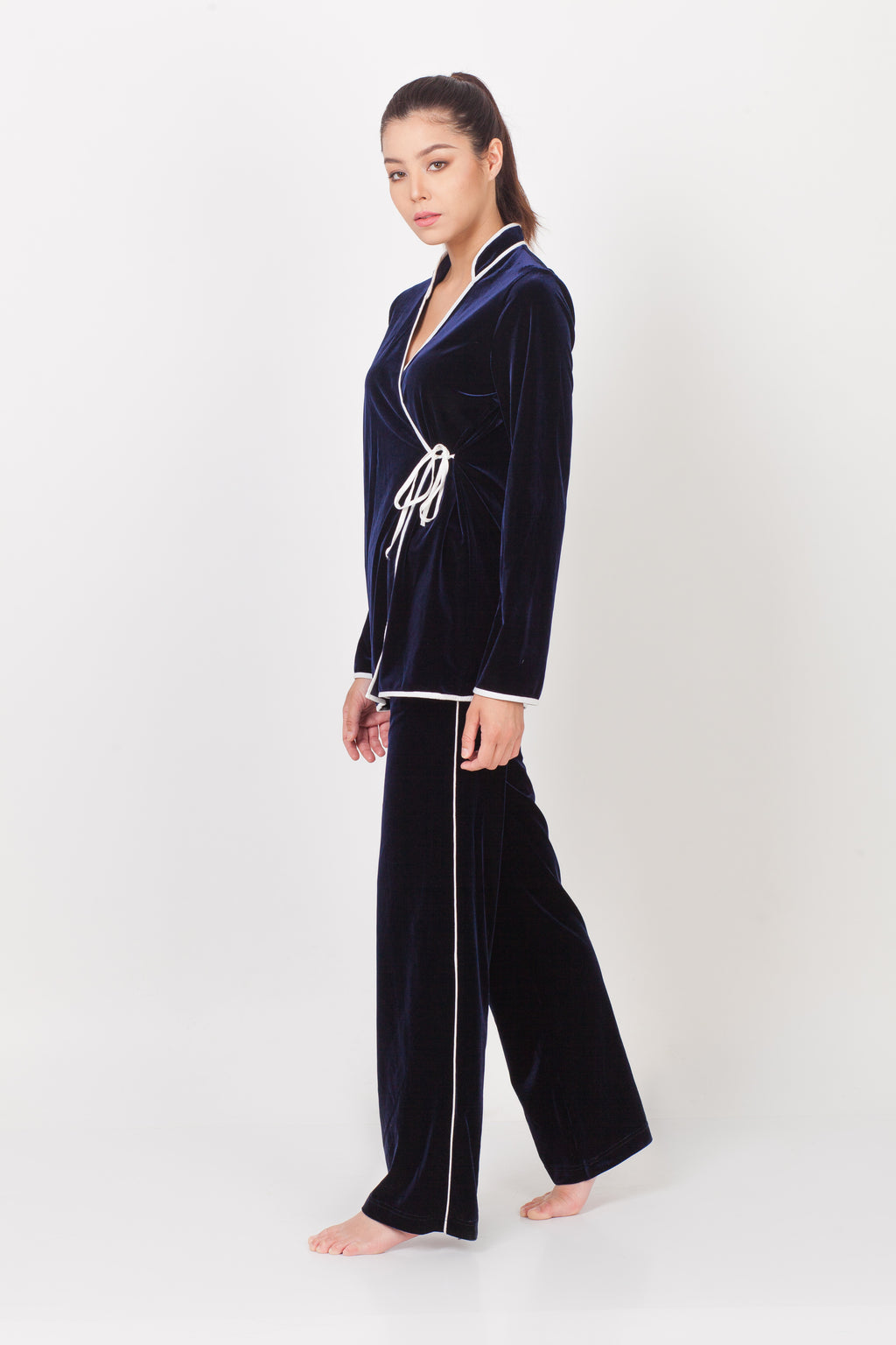 qipology wrap around qipao velvet pajamas