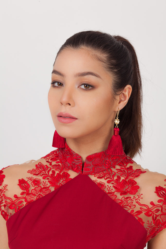 Qipology Tassel Earrings - Red  – Qipology – Hong Kong Tailor Made Qipao Online Store