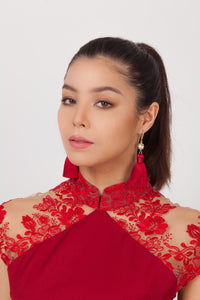 Qipology Tassel Earrings - Red