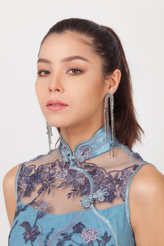 Dyan 2 Crystal Dangly Earrings – Qipology – Hong Kong Tailor Made Qipao Online Store