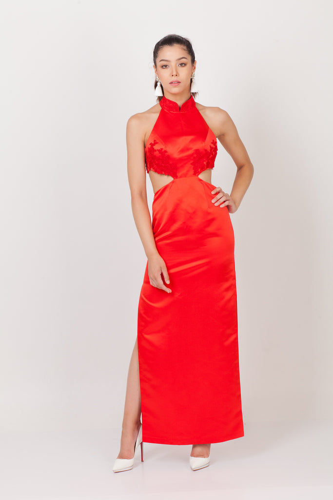 Poppy Cut Out Bridal Qipao Gown – Qipology – Hong Kong Tailor Made Qipao Online Store