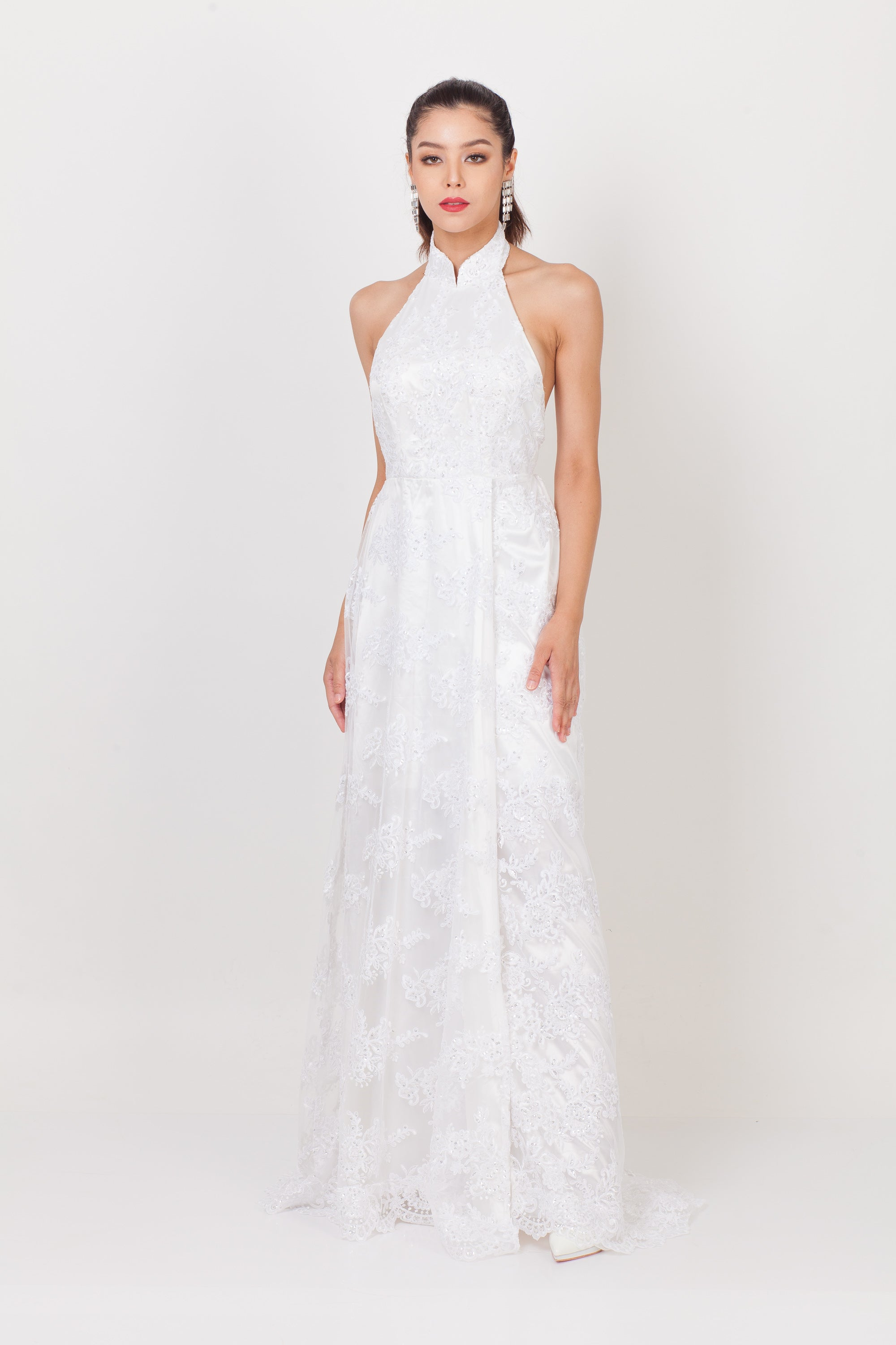 Iris Lace Halter Qipao Gown