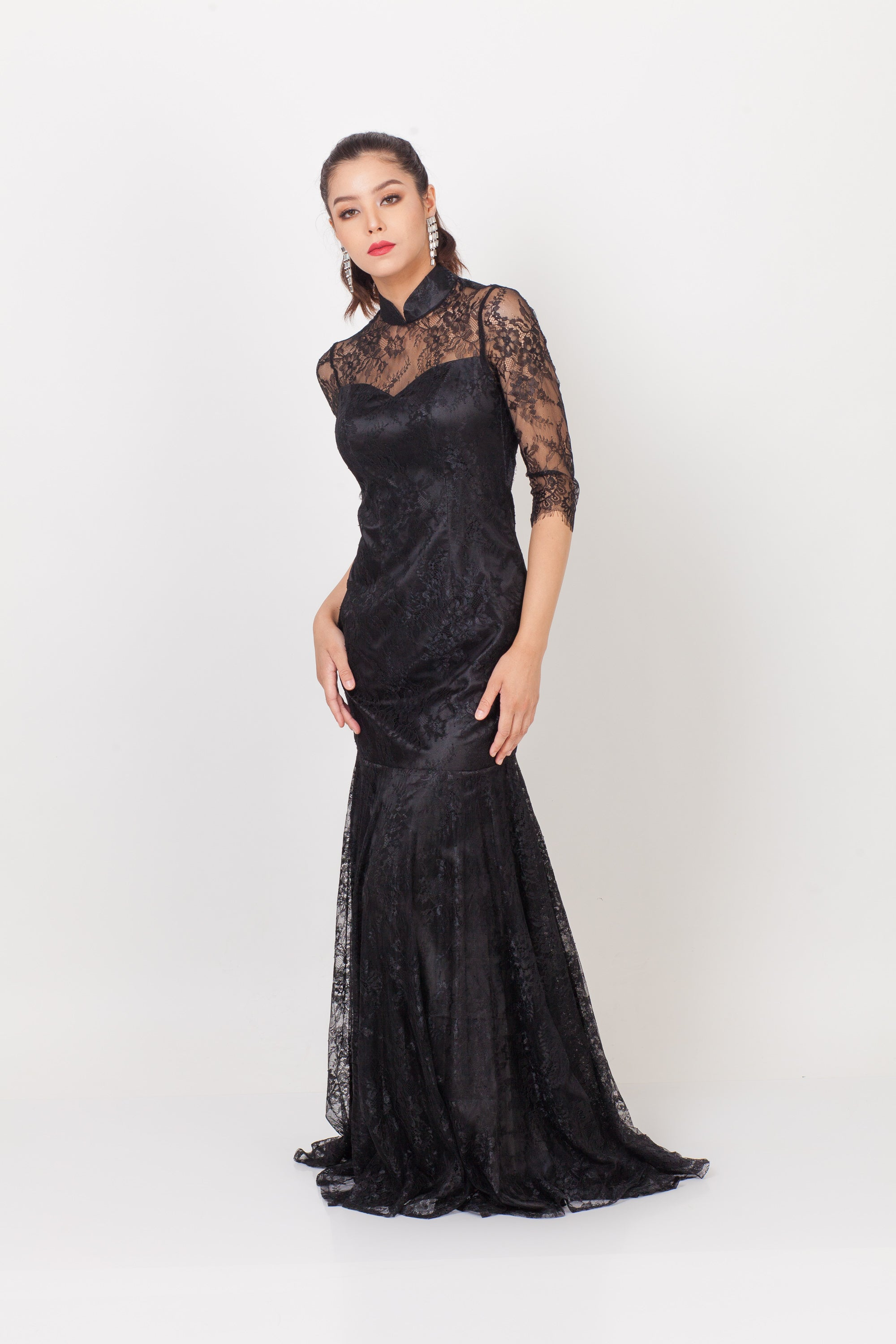 Qipology Mid Sleeves Open Back Lace Qipao Dress