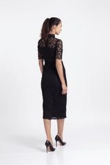 Qipology Mid Sleeves Lace Qipao Dress With Front Slit – Qipology – Hong Kong Tailor Made Qipao Online Store